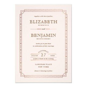 modern art deco gold foil border blush wedding invitation