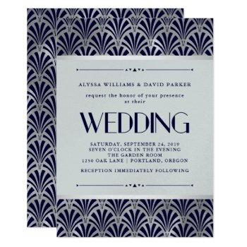 modern art deco | navy and faux silver wedding invitation