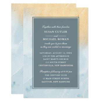 modern beach sand & ocean wedding invitation