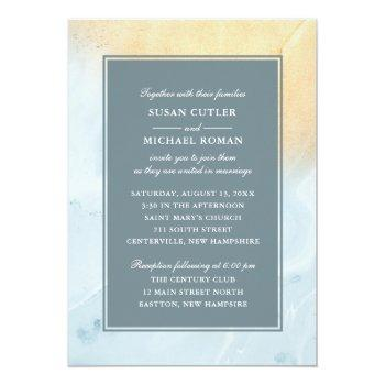 Small Modern Beach Sand & Ocean Wedding Invitation Front View