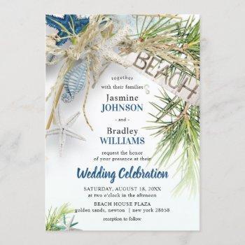 modern beach theme wedding invitation