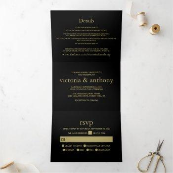 modern black and gold wedding suite tri-fold invitation