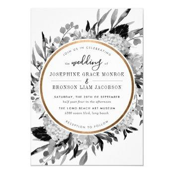 modern black and white watercolor floral frame invitation