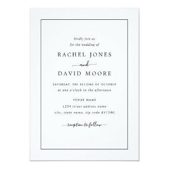 Small Modern Black And White Wedding Invitation Front View