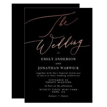 modern black rose gold calligraphy wedding invitation