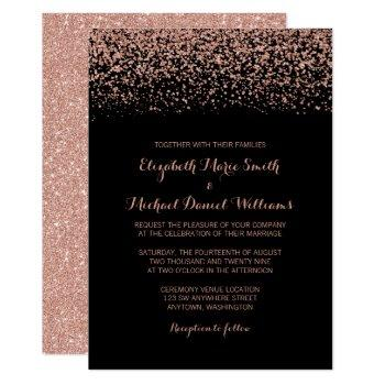 modern black rose gold faux glitter wedding invitation