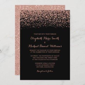 modern black rose gold faux glitter wedding invitation