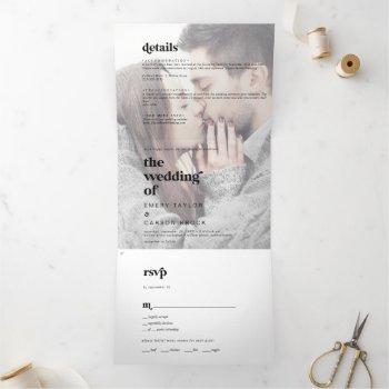 modern black typography faded photo wedding tri-fold invitation