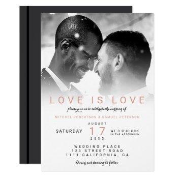 modern black white ombre photo gay wedding invitation
