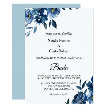 modern blue floral wedding invitation