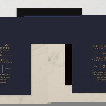 modern blue gold budget wedding invites