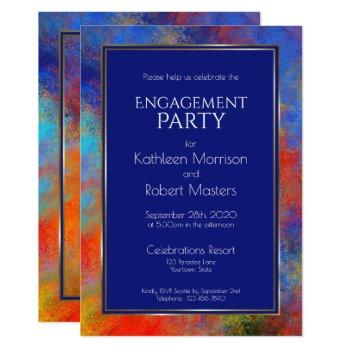 modern blue gold red watercolor engagement party invitation