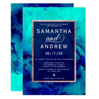 modern blue turquoise watercolor rose gold wedding invitation