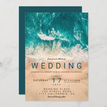 modern blue waves elegant beach photo wedding invitation