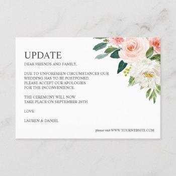 modern blush | pink botanical wedding update invitation
