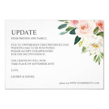 modern blush   pink botanical wedding update invitation