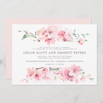 modern blush pink cherry blossoms floral wedding invitation