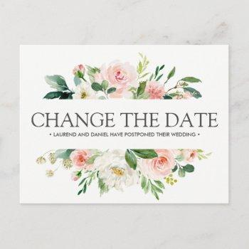 modern blush  | pink wedding change the date announcement postcard