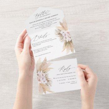 modern bohemian pampas grass botanical wedding all in one invitation