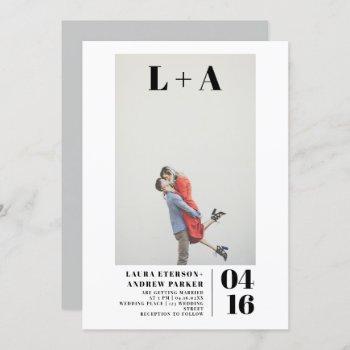modern bold  minimalist initials photo wedding invitation