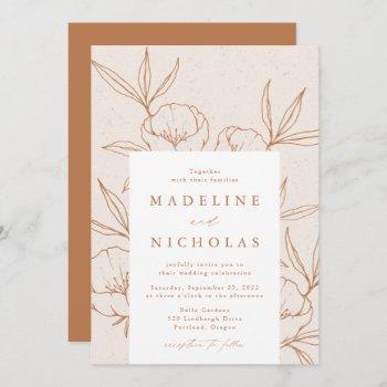 modern botanical floral cream & terracotta wedding invitation