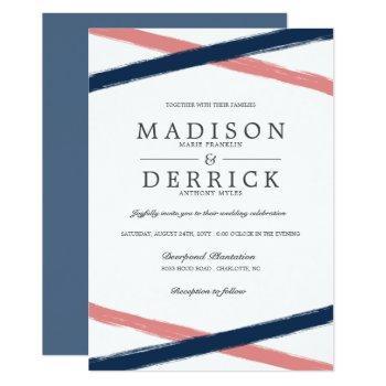 modern brush strokes wedding | navy coral invitation