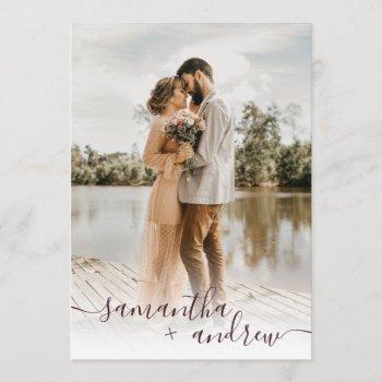 modern burgundy minimalist script photos wedding invitation