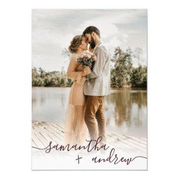 modern burgundy minimalist script photos wedding invitation