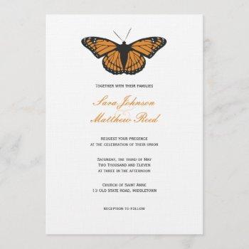 modern butterfly wedding invitation - orange