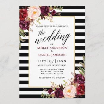 modern calligraphy burgundy floral wedding striped invitation