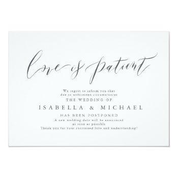 modern calligraphy minimalist wedding postponement invitation