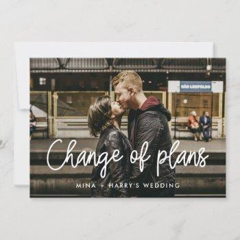 modern calligraphy wedding change of plans announcement