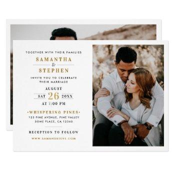 modern champagne gold photo wedding invitation