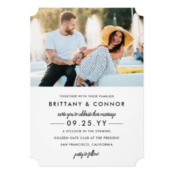 modern chic black and white photo wedding invitation