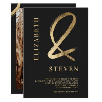 modern chic gold ampersand names photo wedding invitation