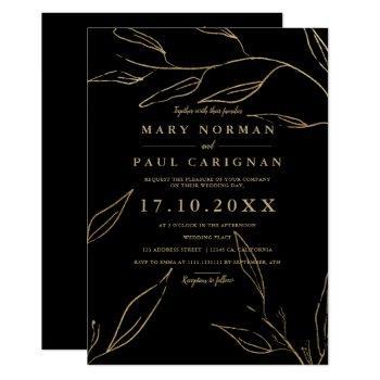modern chic gold black leaf simple chic wedding invitation