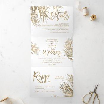 modern chic gold palm tree elegant wedding tri-fold invitation
