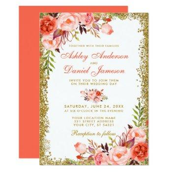 modern coral floral gold glitter wedding invitation