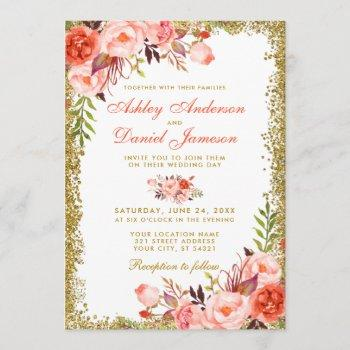 modern coral floral gold glitter wedding invitation