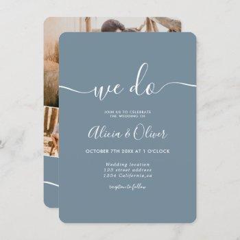 modern dusty blue script photo initials wedding invitation