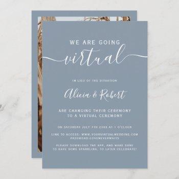 modern dusty blue script virtual wedding invitation