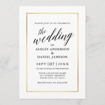 modern elegant calligraphy wedding black and gold invitation