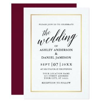 modern elegant calligraphy wedding burgundy gold invitation