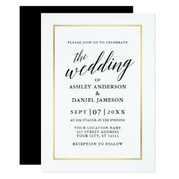 modern elegant calligraphy wedding gold frame invitation