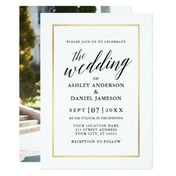 modern elegant calligraphy wedding gold photo back invitation