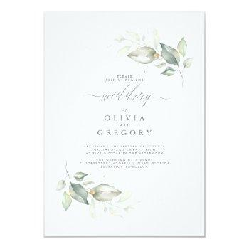 Small Modern Elegant Greenery Minimalist Wedding Invitation Front View