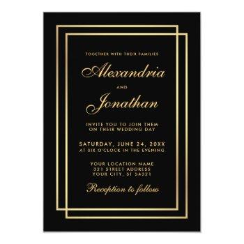 modern elegant wedding gold black white invitation