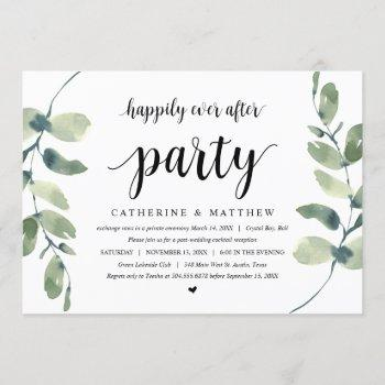 modern eucalyptus, black, wedding elopement party invitation
