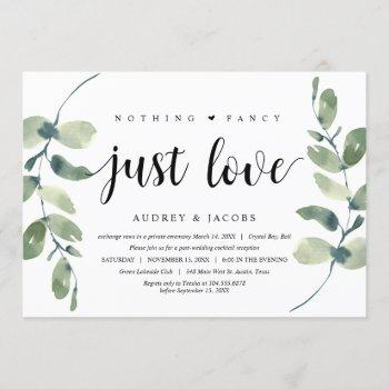 modern eucalyptus,  wedding elopement party invitation