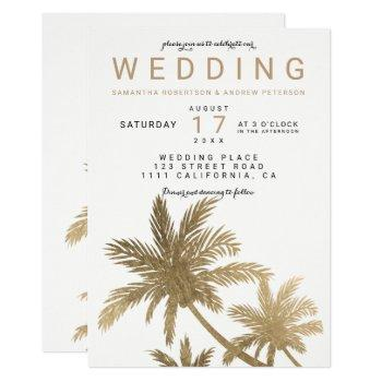 modern faux gold palm trees elegant wedding invitation